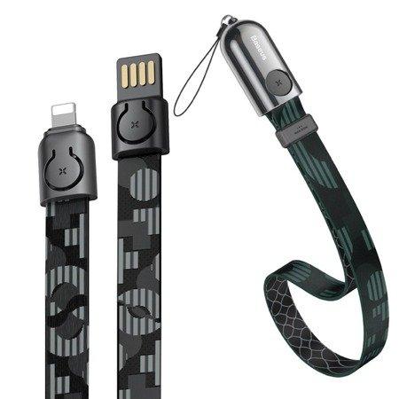 Baseus 2w1 smycz + kabel USB / Lightning 35cm 2.4A czarny (CALJL-AP1)