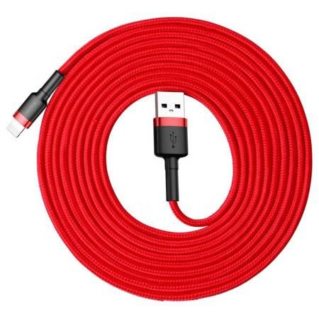 Baseus Cafule Cable wytrzymały nylonowy kabel przewód USB / Lightning QC3.0 2A 3M czerwony (CALKLF-R09)