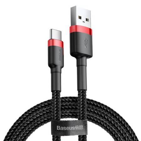 Baseus Cafule Cable wytrzymały nylonowy kabel przewód USB / USB-C QC3.0 2A 3M czarno-czerwony (CATKLF-U91)