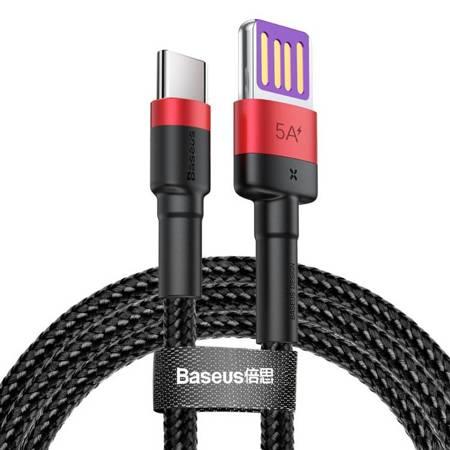 Baseus Cafule kabel przewód USB Typ C SuperCharge 40W Quick Charge 3.0 QC 3.0 1m czarno-czerwony (CATKLF-P91)