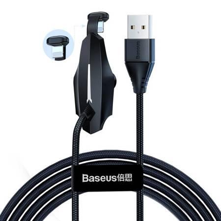 Baseus Colorful kabel USB / Lightning z przyssawką dla graczy 1.5A 2m czarny (CALXA-B01)