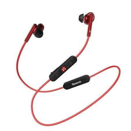Baseus Encok S30 dokanałowe słuchawki bezprzewodowe Bluetooth 5.0 zestaw słuchawkowy z pilotem czerwony (NGS30-09)