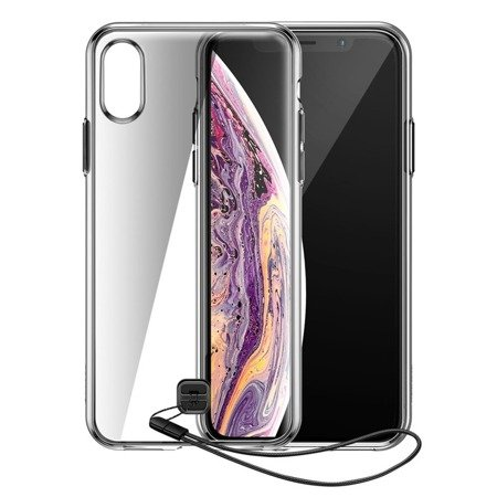 Baseus Transparent Key usztywnione etui z żelową ramką iPhone XS Max czarny (WIAPIPH65-QA01)