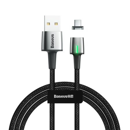 Baseus Zinc magnetyczny kabel USB / USB Typ C 2m 2A czarny (CATXC-B01)