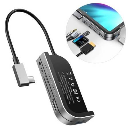 Baseus adapter HUB przejściówka z USB Typ C na USB 3.0 / 4K HDMI / czytnik kart TF, SD / USB Typ C PD / 3.5mm mini jack szary (CAHUB-WJ0G)
