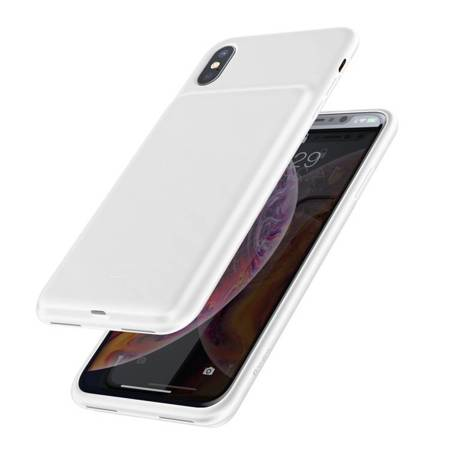 Baseus etui pokrowiec + wbudowany power bank 4200mAh iPhone XS Max biały (ACAPIPH65-BJ02)