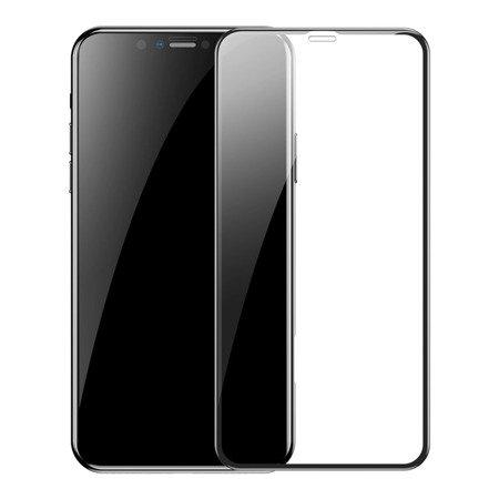Baseus zestaw 2x szkło na cały ekran Full Screen z ramką 0.3mm 9H iPhone 11 / iPhone XR + pozycjoner czarny (SGAPIPH61S-KC01)
