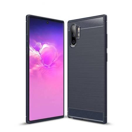 Carbon Case elastyczne etui pokrowiec Samsung Galaxy Note 10 Plus niebieski
