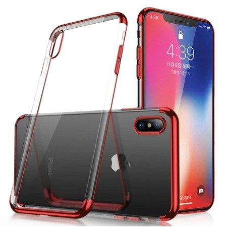 Clear Color case żelowy pokrowiec etui z metaliczną ramką Xiaomi Redmi Note 7 czerwony