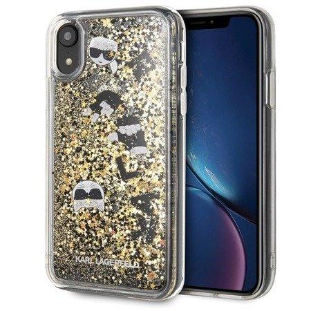 Etui Karl Lagerfeld KLHCI61ROGO iPhone Xr czarno-złoty/black & gold hard case Glitter