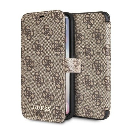Guess GUFLBKPX4GB iPhone X/XS brown /brązowy book 4G
