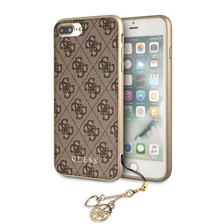 Guess GUHCI8LGF4GBR iPhone 7/8 Plus brownn/brązowy hard case 4G Charms Collection