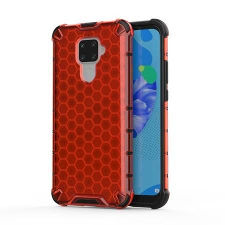 Honeycomb etui pancerny pokrowiec z żelową ramką Huawei Mate 30 Lite / Huawei Nova 5i Pro czerwony