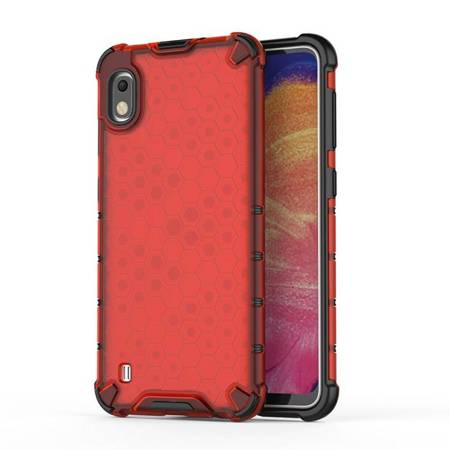 Honeycomb etui pancerny pokrowiec z żelową ramką Samsung Galaxy A10 czerwony