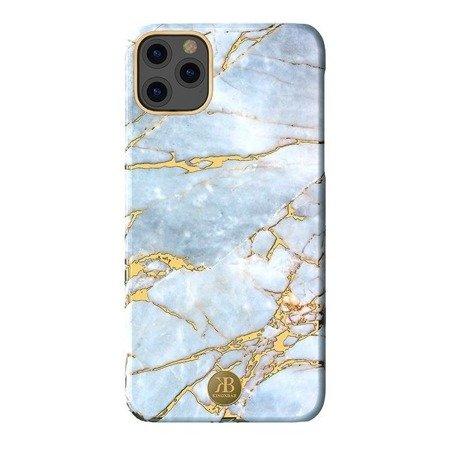 Kingxbar Marble Series eleganckie etui pokrowiec z nadrukiem marmur iPhone 11 Pro Max biało-błękitny