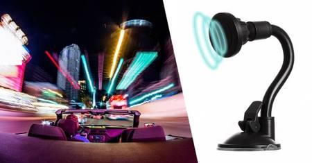 Magnetyczny uchwyt samochodowy na szybę elastyczny giętki czarny