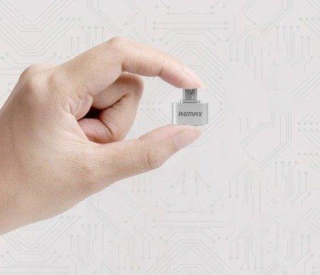 REMAX adapter OTG USB host srebrny