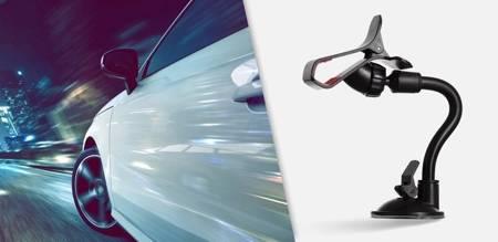 Uchwyt samochodowy na szybę z klipsem klamrą czarny