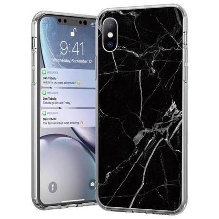 Wozinsky Marble żelowe etui pokrowiec marmur iPhone XS / iPhone X czarny